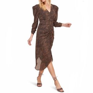 ASTR the Label Ruched Front Midi Dress Spot Print